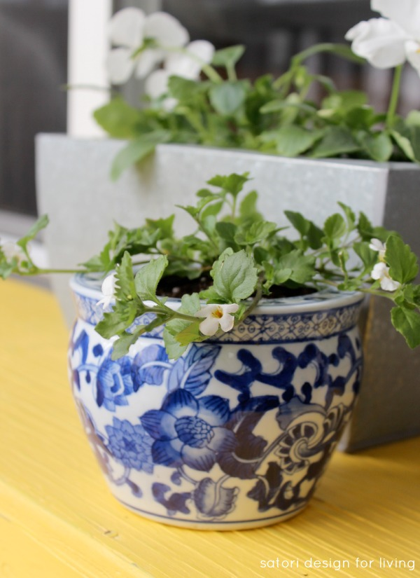 Decorating the Front Porch for Spring - Blue and White Chinoiserie Pot - SatoriDesignforLiving.com