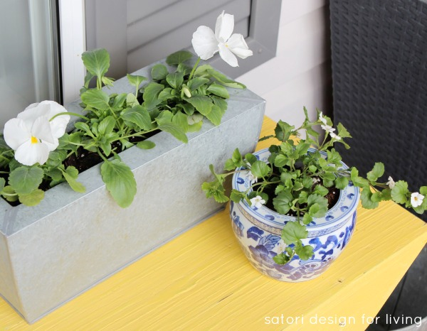 Spring Front Porch Decorating- Tin Planter, Chinoiserie Blue and White Pot