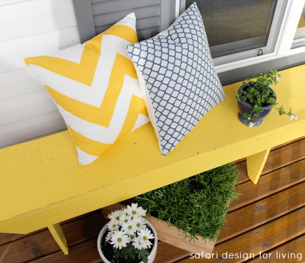 Spring Front Porch Decorating - Cottage Style - Yellow Chevron Pillow - Blue Tile Pillow
