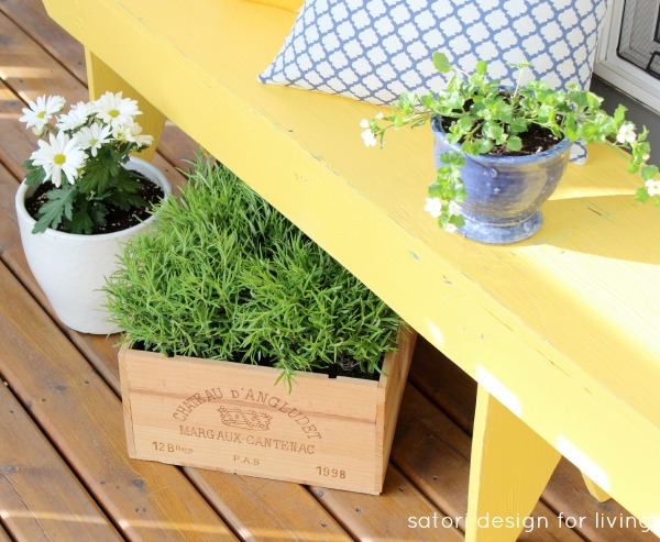 Spring Front Porch Decorating - Cottage Style - Yellow Bench with Wine Crate Planter