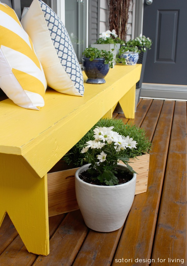 Spring Front Porch Decorating - Cottage Style with Yellow Bench and Blue Accessories - SatoriDesignforLiving.com