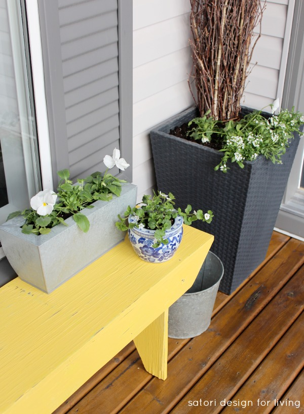 Spring Front Porch Decorating Ideas - Yellow Bench - Vintage Sap Bucket