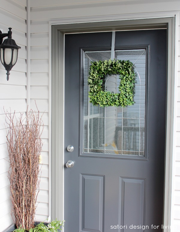 Spring Front Porch Decorating- Blue/Black Front Door with Square Boxwood Wreath