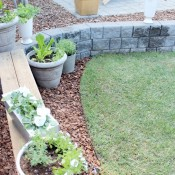 Outdoor Paint Project - Weathered Red Bench with a Vegetable, Herb and Flower Container Garden | Satori Design for Living