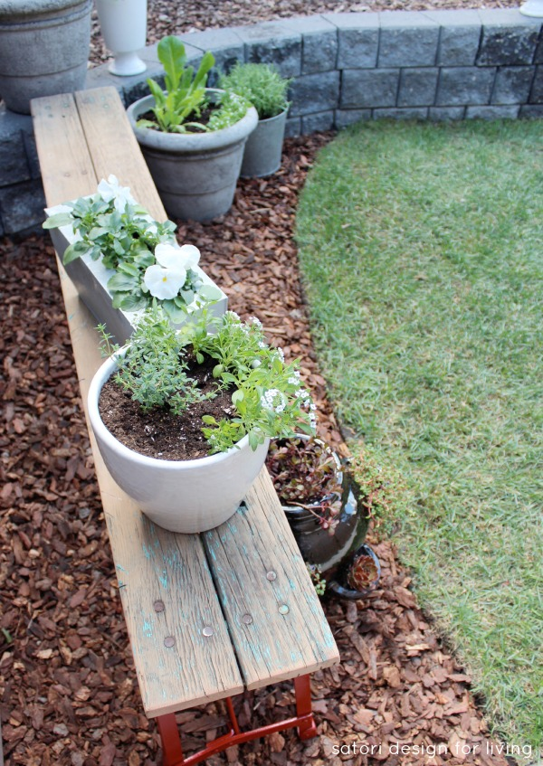 Weathered Red Bench with a Vegetable, Herb and Flower Garden   Satori Design for Living