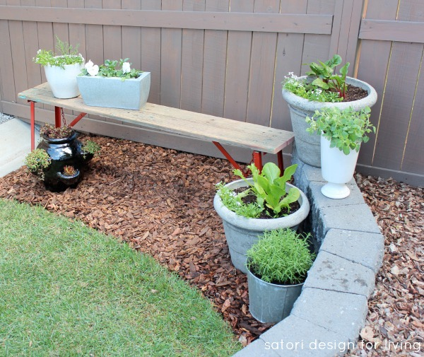 Salvaged Red Bench with a Vegetable, Herb and Flower Container Garden | Satori Design for Living