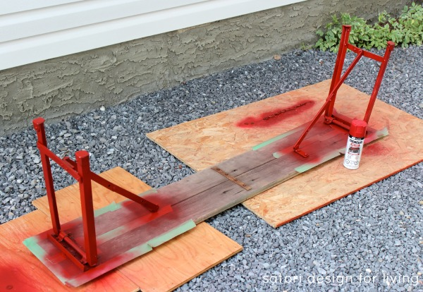 Rustic and Weathered Bench Makeover Using Red Spray Paint - Satori Design for Living