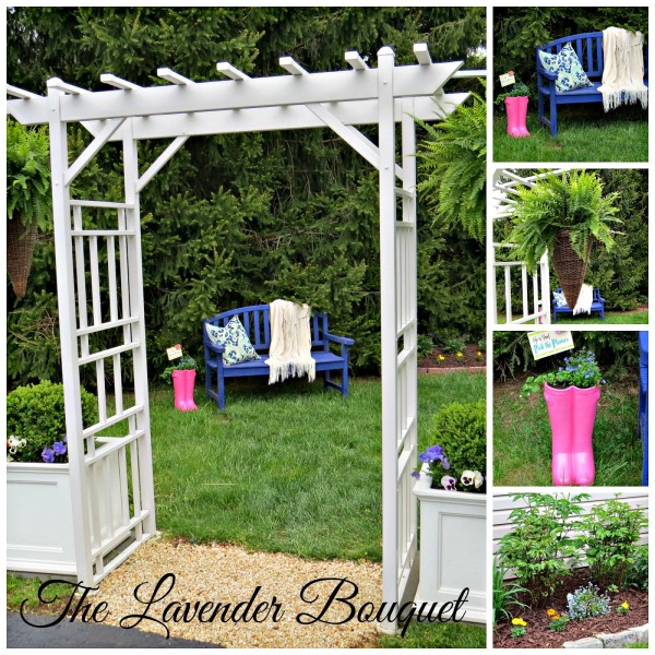 outdoor decorating - blue outdoor bench vignette