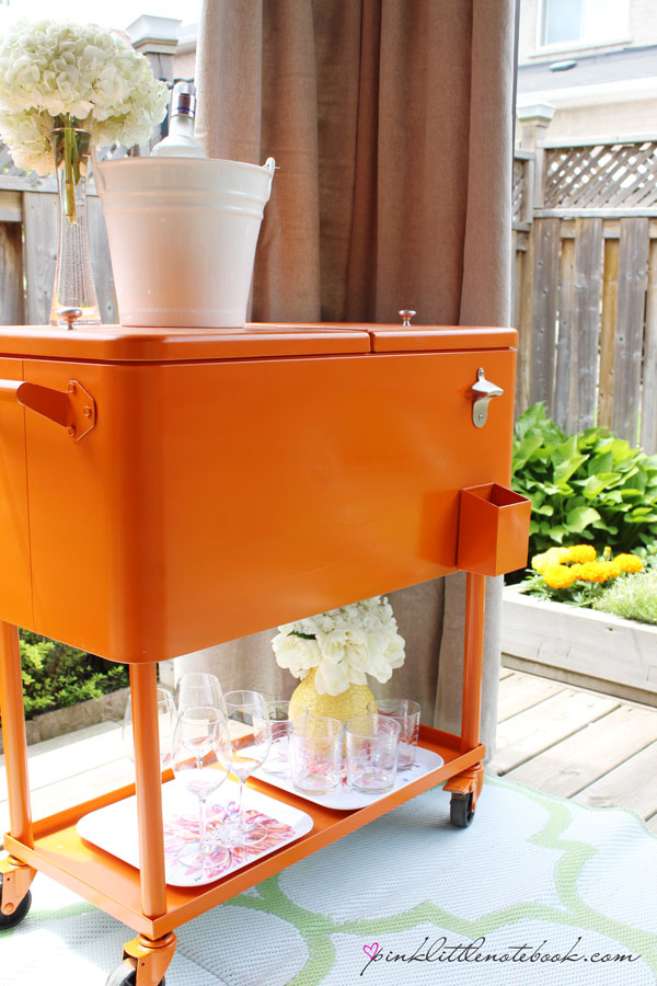 orange cooler:drink cart