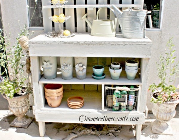white potting bench makeover