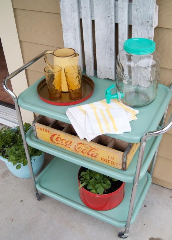 Aqua Vintage Drink Cart