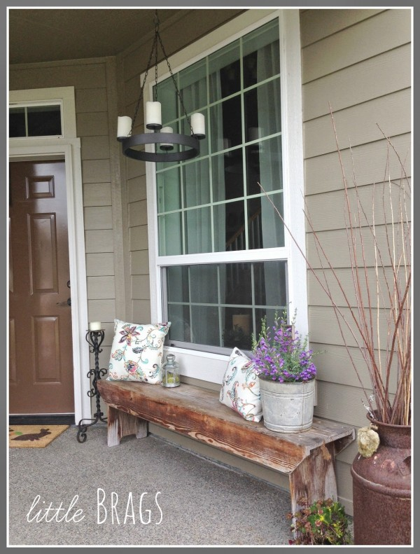 Outdoor Chandelier on Front Porch