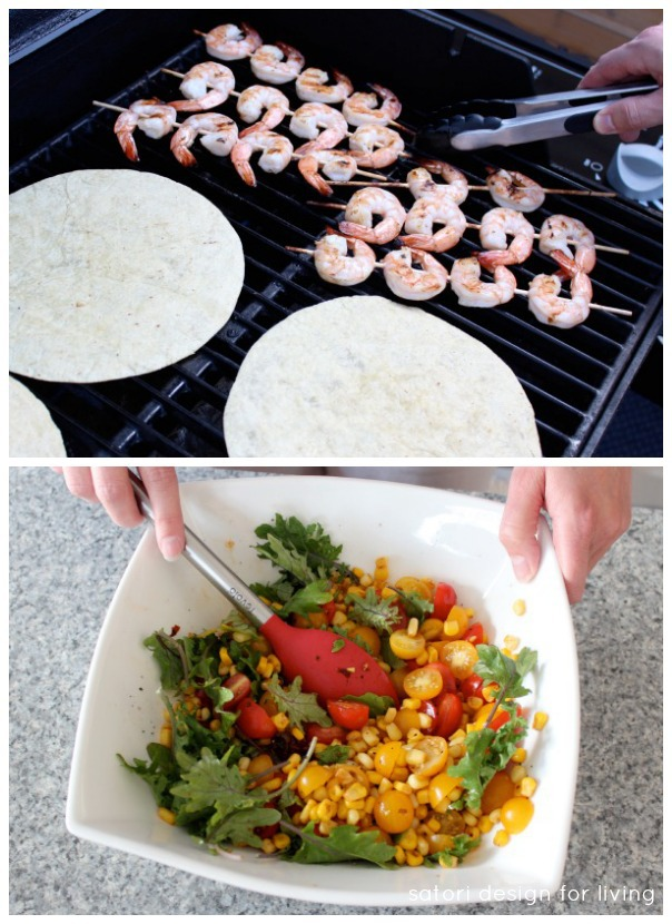 Outdoor Oasis Party Food - Shrimp Tacos with Toasted Chipotle Corn and Tomato Salad - Satori Design for Living