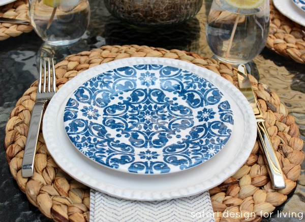Outdoor Oasis Party - Blue and White Trellis Melamine Plates - Satori Design for Living
