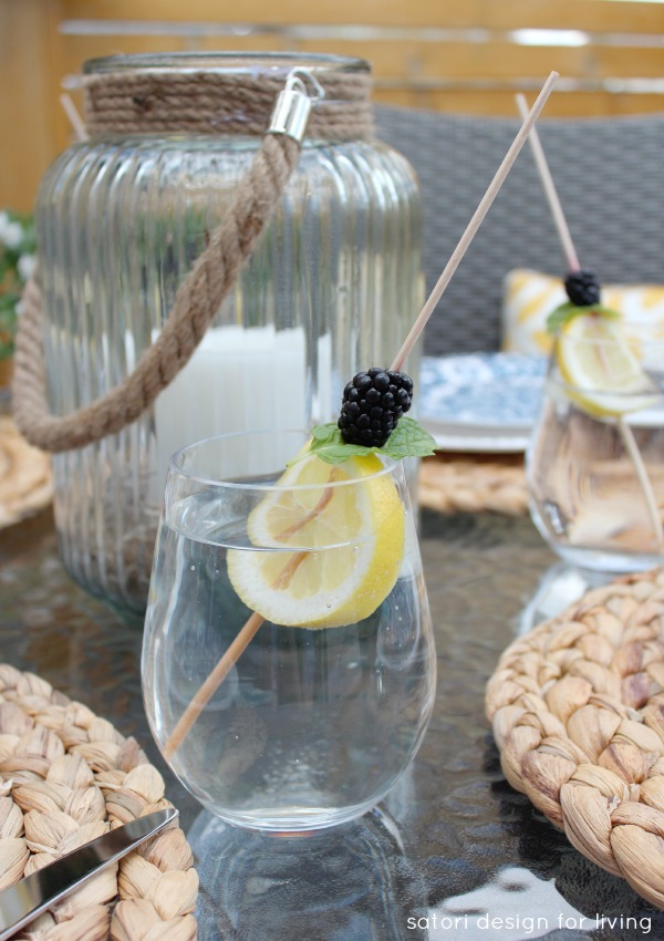Outdoor Oasis Party - Water Glasses with Fresh Fruit Skewers - Satori Design for Living
