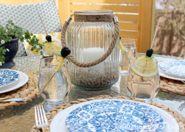 Outdoor Oasis Party with Coastal Blue & White Tablescape - Satori Design for Living