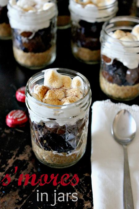 Jar Recipes to Take Along on Your Next Picnic - S'mores in Jars by Create Celebrate Explore