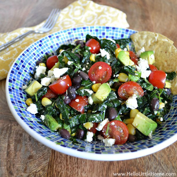 Mexican Kale Salad with Chili Lime Vinaigrette by Hello Little Home
