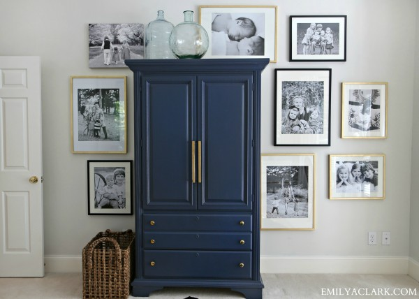 Armoire Painted in Benjamin Moore Hale Navy - Emily A. Clark
