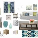 Blue and White Living Room Color Palette - Mood Board | Satori Design for Living E-Design Project
