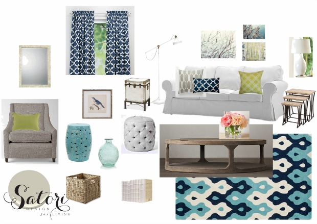 Blue and White Living Room Decor Mood Board | Satori Design for Living E-Design Project
