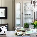 Cottage farmhouse dining room hutch painted in Sherwin Williams Analytical Gray - AKA Design