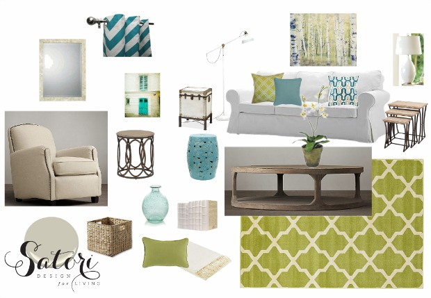 Green and Turquoise Living Room Decor Mood Board | Satori Design for Living E -Design Project