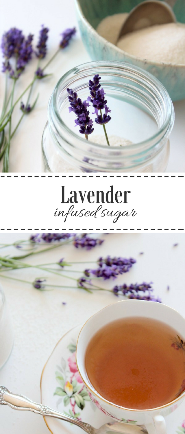 Make this lavender infused sugar to add flavour to iced tea, fruit, desserts and more. So easy to put together!