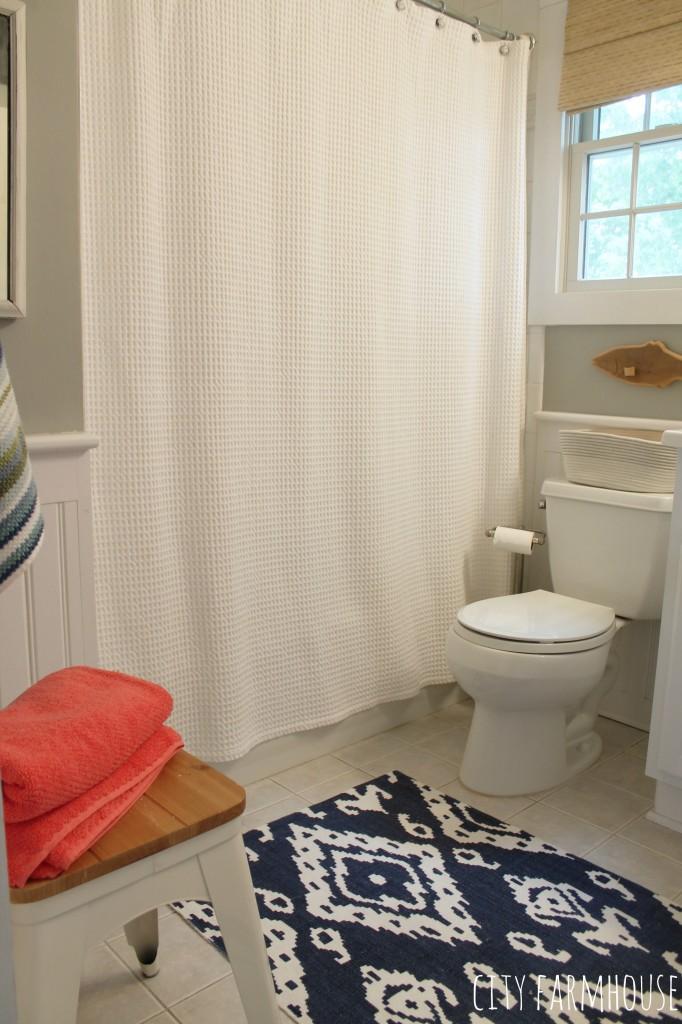 preppy coastal bathroom makeover walls valspar rope with coral and navy city farmhouse