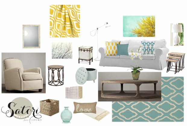 Teal and Yellow Living Room Decor Mood Board | Satori Design for Living E-Design Project