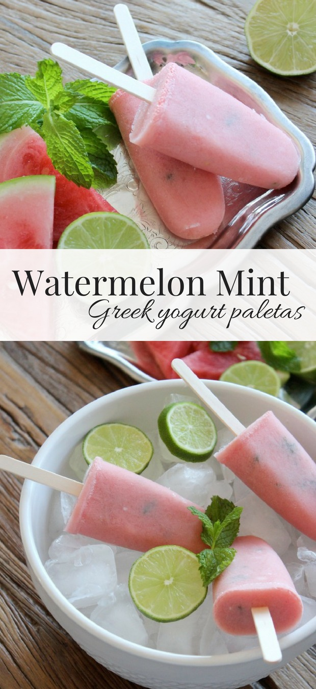 Ditch store-bought popsicles and make your own! These watermelon mint paletas are made with fresh fruit and Greek yogurt. A satisfying, delicious and healthy summer snack everyone will enjoy!