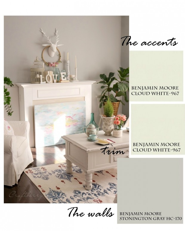 Family Room Paint Colors - Craftberry Bush - Benjamin Moore Cloud White and Stonington Gray