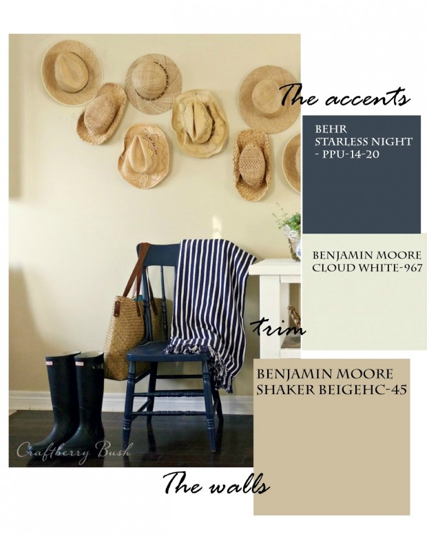 Favorite Paint Colors - Craftberry Bush - Benjamin Moore Cloud White and Shaker Beige - Behr Starless Night