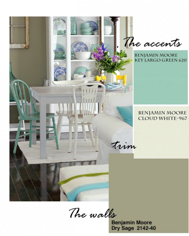 Dining Room Paint Colors - Craftberry Bush - Benjamin Moore Key Largo Green, Cloud White and Dry Sage