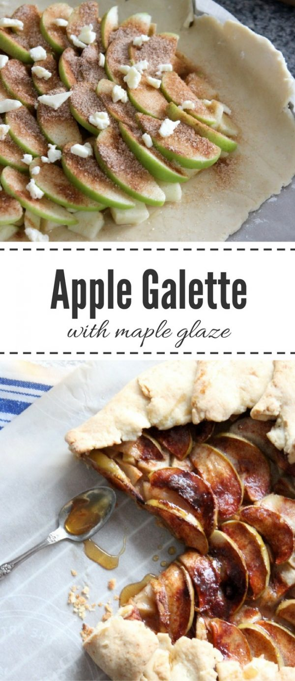 This rustic apple galette is a delicious take on traditional apple pie with a light and flaky crust, caramelized apples and maple syrup glaze. A great way to use up apples from your tree this fall!