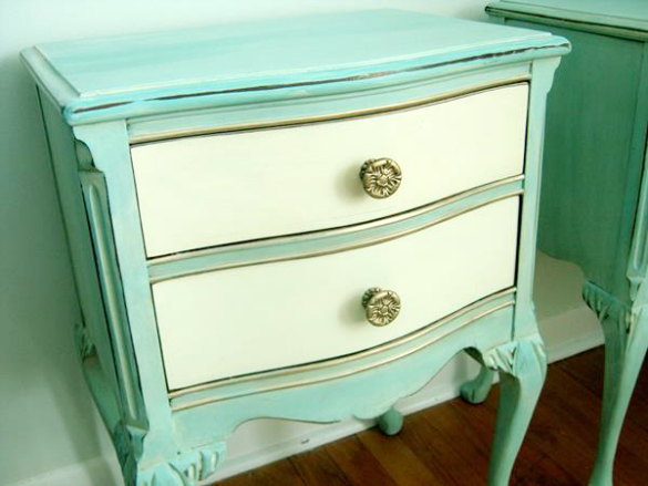 Aqua and Cream Painted Side Table