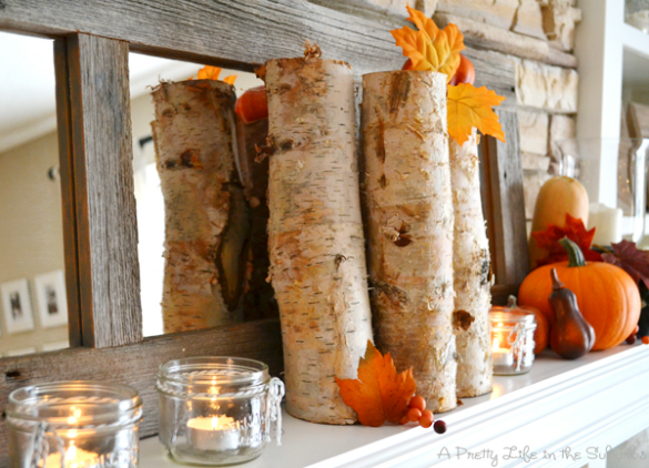 Decorated Fall Mantel by A Pretty Life
