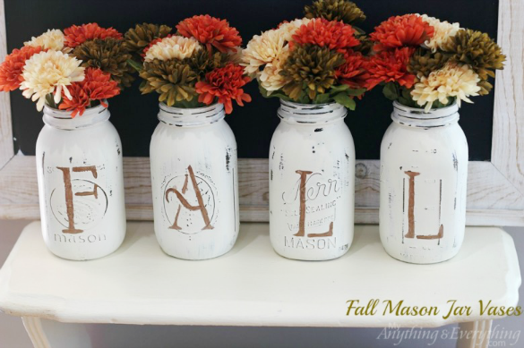 Fall-Mason-Jar-Vases by Anything and Everything
