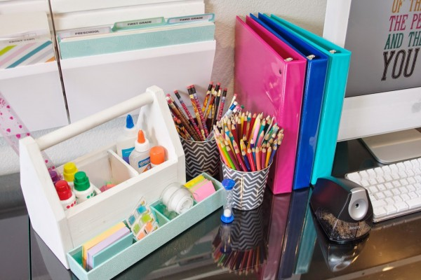 Kids Homework-Station via Be Simply Organized