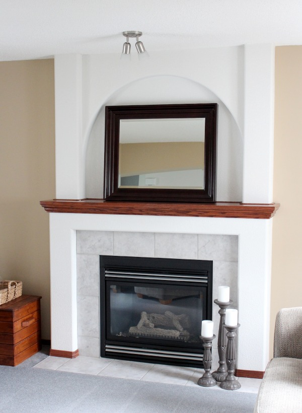 White Painted Fireplace with Oak Trim - Before
