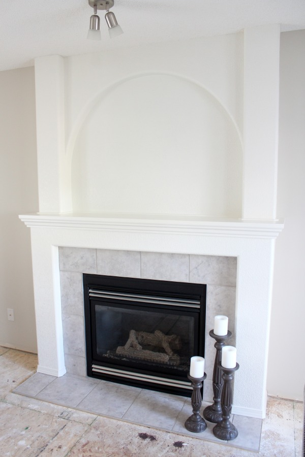 White Painted Fireplace in Benjamin Moore OC-17 White Dove (Progress) - Satori Design for Living