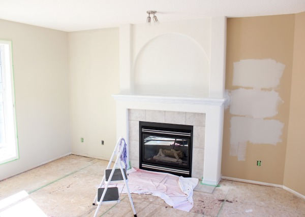 Living Room Paint Makeover with Benjamin Moore's Baby Fawn 0C-15 - Satori Design for Living