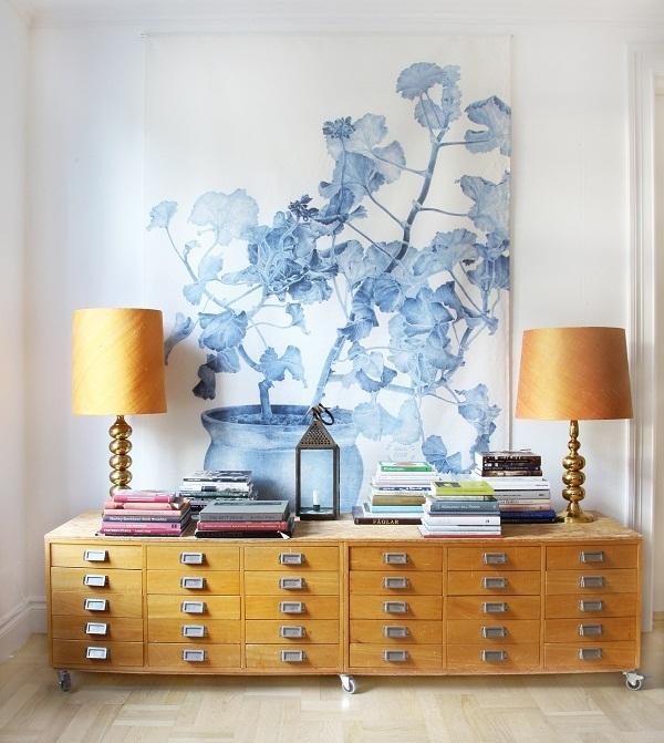 Emma Oversized Wall hanging - SWEDISH WALL DECOR, BLUE GERANIUM (LINEN) - Splendid Avenue