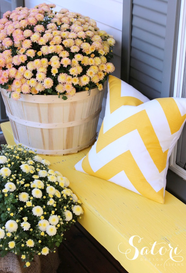 Decorated Fall Front Porch with Oversized Garden Mums and Bright Yellow Bench - Satori Design for Living
