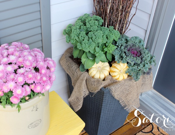Front Porch Decorating Ideas - Fall Planter with Ornamental Kale, Autumn Sedum and Gourds - Satori Design for Living