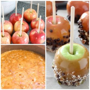 Halloween Caramel Apples Collage