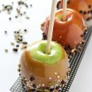 Make these healthier version caramel apples for Halloween. Free from corn syrup or margarine and dipped in healthy bits like nuts, coconut and dark chocolate. Recipe at SatoriDesignforLiving.com