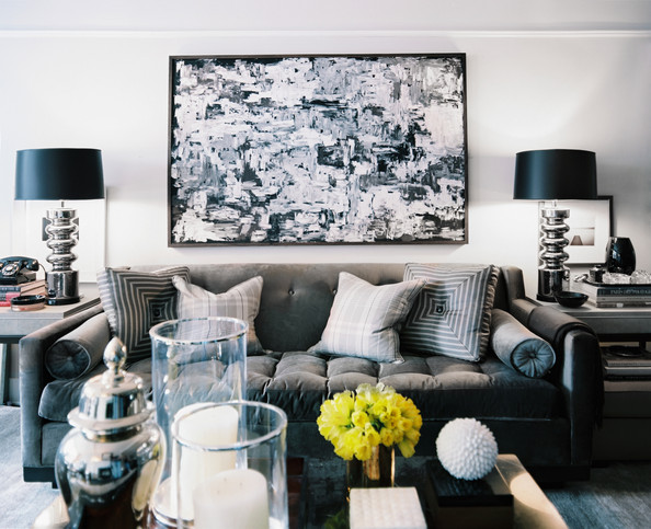 Living Room Oversized Art - Ron Marvin Design via Lonny
