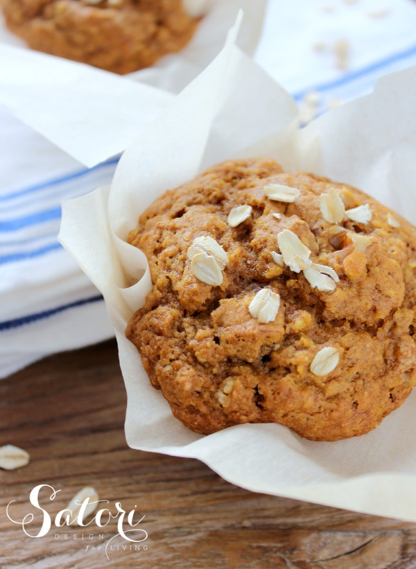 Fall Inspired Recipes - Pumpkin Oat Muffins by Satori Design for Living