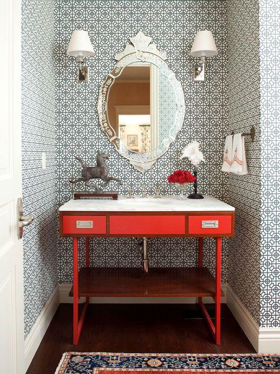 Colorful Powder Room - Bold Patterned Wallpaper - via Better Homes & Gardens